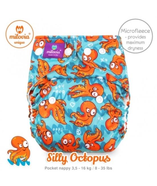 Scutec refolosibil cu buzunar Milovia Silly Octopus