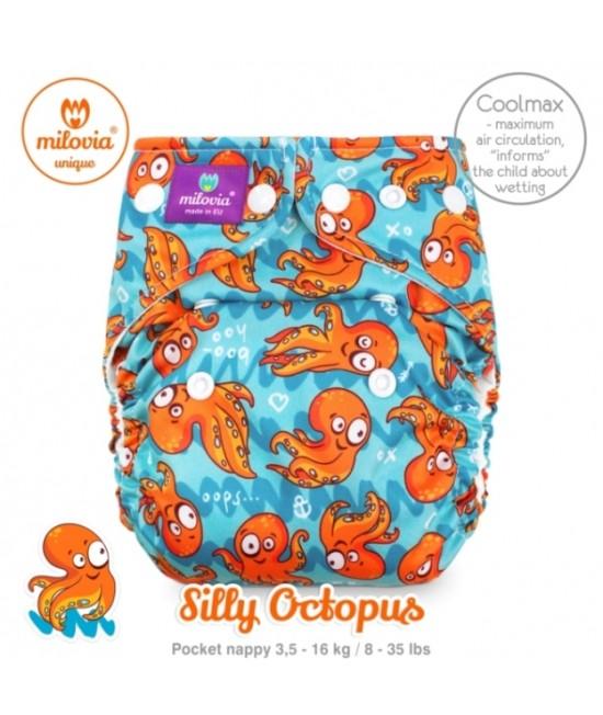 Scutec refolosibil cu buzunar Milovia Coolmax Silly Octopus Unique - cu absorbante Coolmax M+L