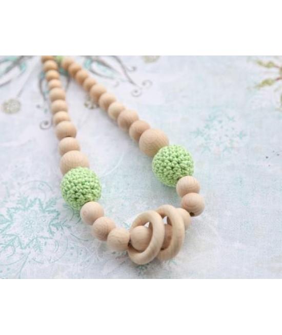 Colier pentru alăptare sau babywearing din lemn și bumbac ecologic Nihama Pistachio cu inele