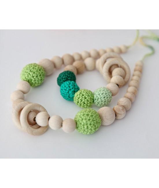 Set: Colier pentru alăptare sau babywearing + jucărie din lemn și bumbac ecologic pentru dinți Nihama