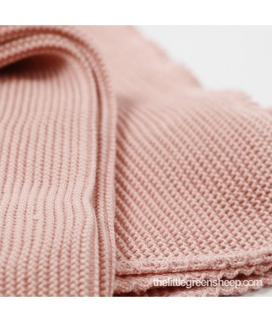 Pătură roz pentru bebeluși The Little Green Sheep din bumbac organic cellular 73 x 73 cm