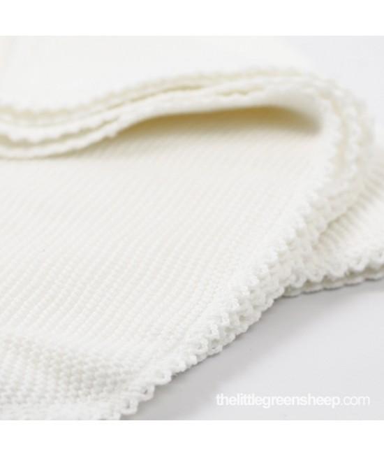 Pătură albă pentru bebeluși The Little Green Sheep din bumbac organic cellular 73 x 73 cm