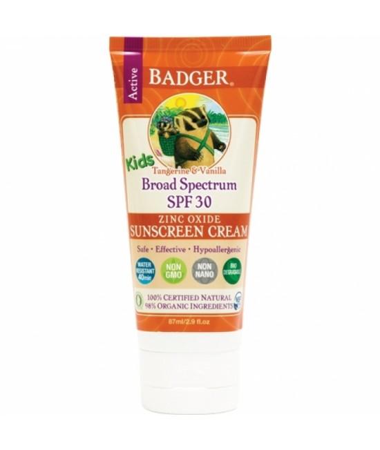 Cremă BIO naturală de protecție solară Badger SPF 30 pentru copii - cu mandarine, vanilie și oxid de zinc - rezistentă la apă și transpirație