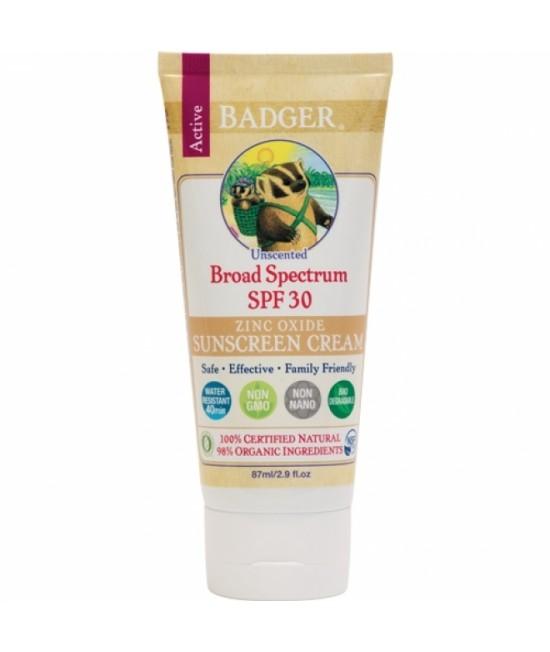 Cremă BIO naturală de protecție solară Badger SPF 30 fără miros - pentru toată familia (bebeluși, copii, adulți) - rezistentă la apă