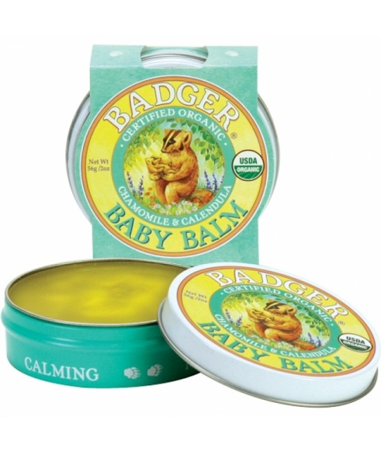 Mini-Balsam organic pentru bebeluși Baby Balm Badger cu mușețel și gălbenele - 21 g