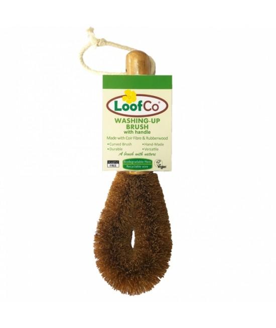 Perie LoofCo din fibre de cocos, cu mâner, pentru spălarea vaselor