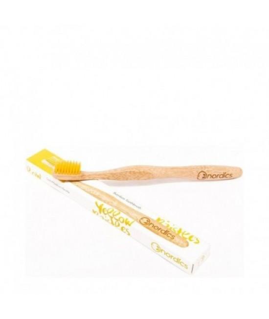 Periuță de dinți din bambus pentru adulți - Nordics galbenă