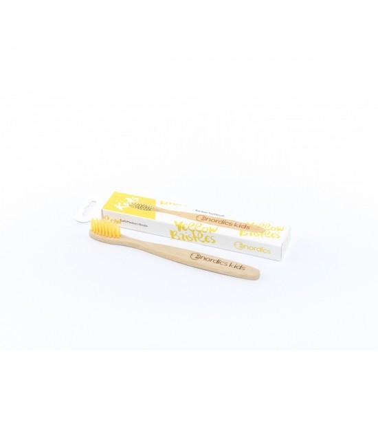 Periuță de dinți din bambus pentru copii - Nordics galbenă