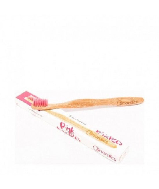Periuță de dinți din bambus pentru adulți - Nordics roz