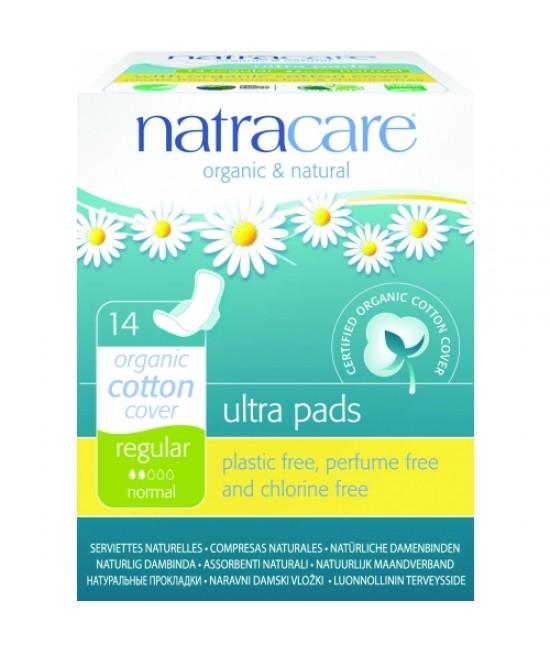 Absorbante naturale normale Natracare - 2 picături, ultra (regular), cu aripioare, cu bumbac organic - 14 bucăți