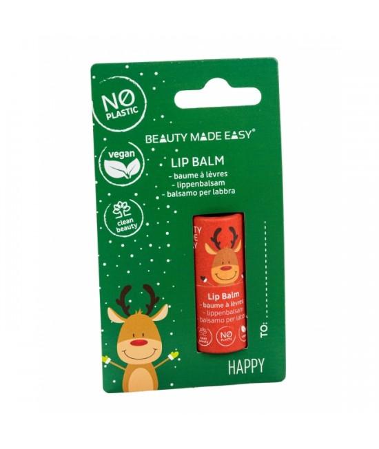 Balsam natural hidratant pentru buze Beauty Made Easy Happy - ZERO PLASTIC, vegan, ediție limitată de Crăciun