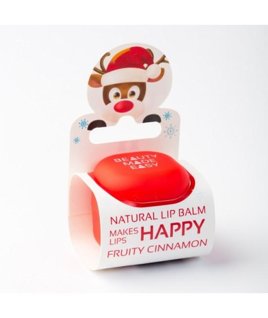 Balsam natural pentru buze Beauty Made Easy cu scorțișoară - Ediție limitată de Crăciun