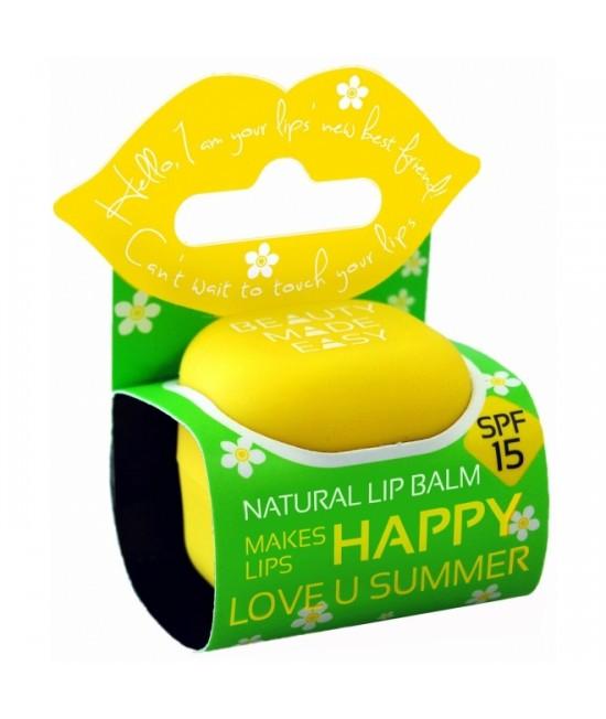 Balsam natural cu protecție solară pentru buze Beauty Made Easy cu monoi și cocos SPF15