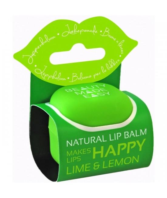 Balsam natural pentru buze Beauty Made Easy cu lime și lămâie