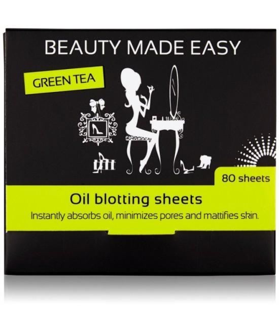 Foițe matifiante pentru ten - Beauty Made Easy - cu ceai verde, 80 bucăți
