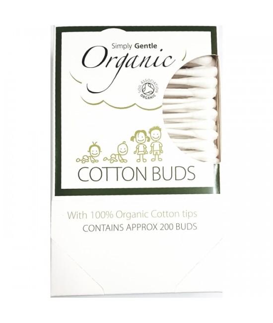 Bețișoare din bumbac organic pentru urechi - Macdonald and Taylor - Simply Gentle Organic - 200 bucăți