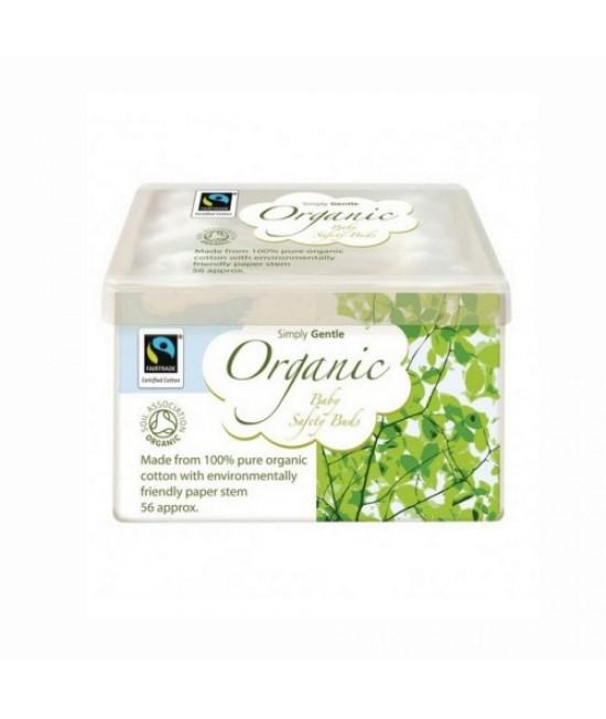 Bețișoare din bumbac organic pentru urechile bebelușilor, cu protecție - Macdonald and Taylor - Simply Gentle Organic - 56 bucăți