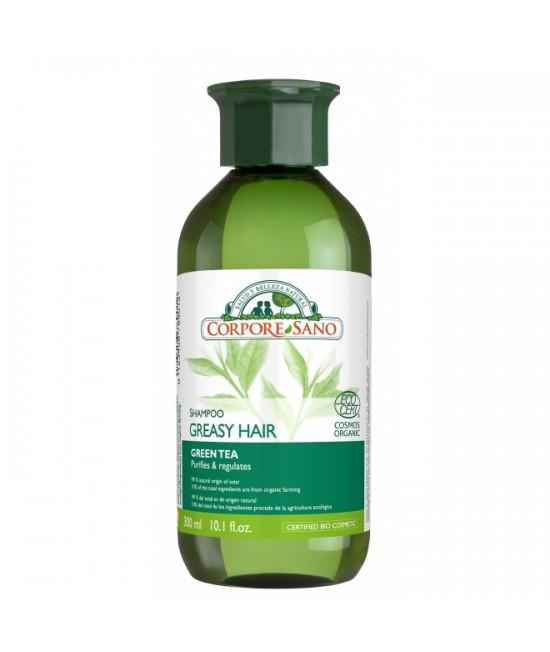 Șampon purifiant cu ceai verde și urzică Corpore Sano pentru păr gras