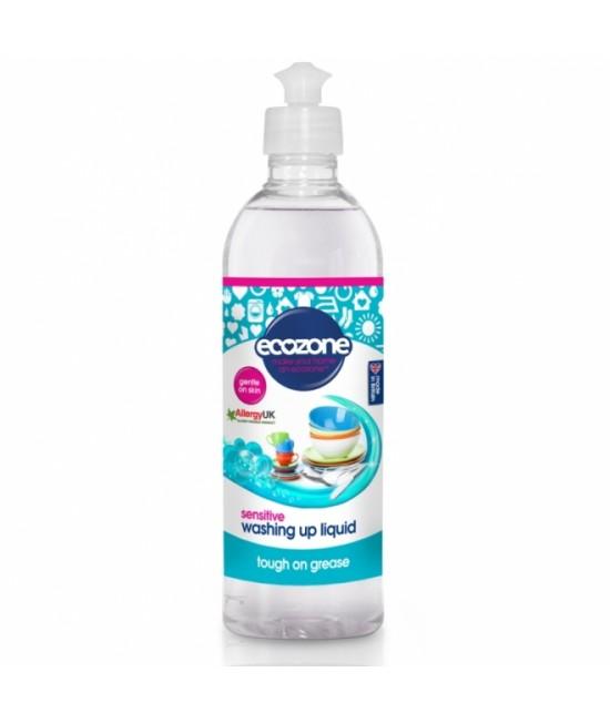 Detergent ECO fără miros Ecozone Sensitive pentru spălat vase, vesela bebelușului sau biberoanele - 500 ml