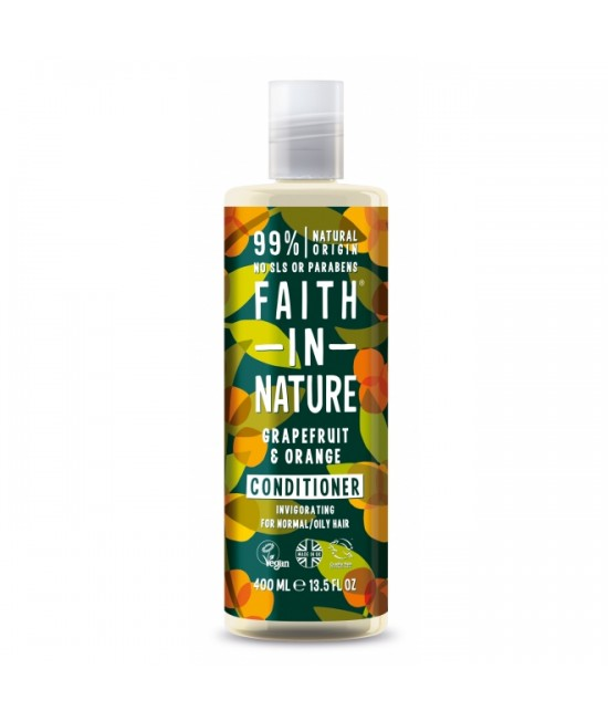 Balsam natural cu grapefruit și portocale Faith in Nature pentru păr normal sau gras - 400 ml