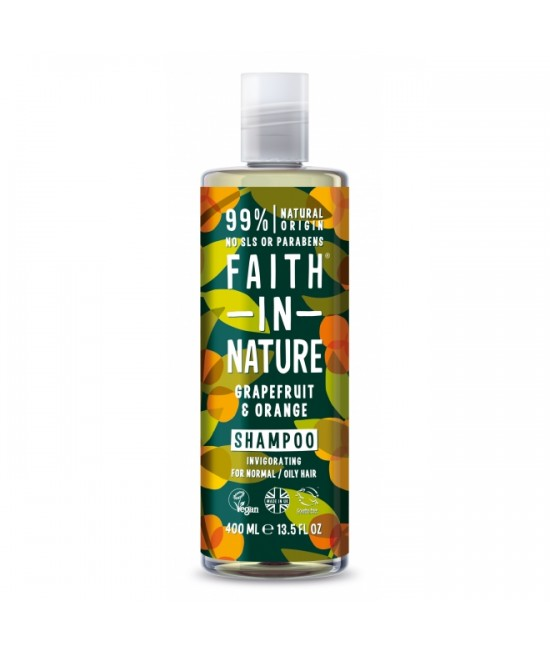 Șampon natural cu grapefruit și portocale Faith in Nature pentru păr normal sau gras - 400 ml