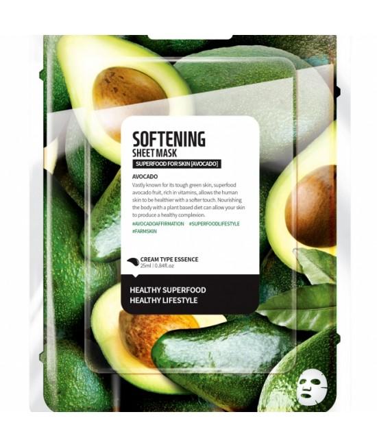 Mască facială coreeană nutritivă Farm Skin cu avocado - tip șervețel - 1 bucată