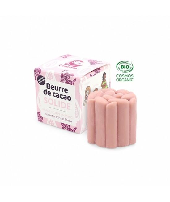 Unt BIO roz solid de cacao Lamazuna pentru față și corp - cu Iris și Tonka - zero waste - 54 grame