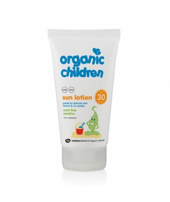 Loțiune de protecție solară pentru copii BIO SPF30 - fără miros - Green People Organic Children
