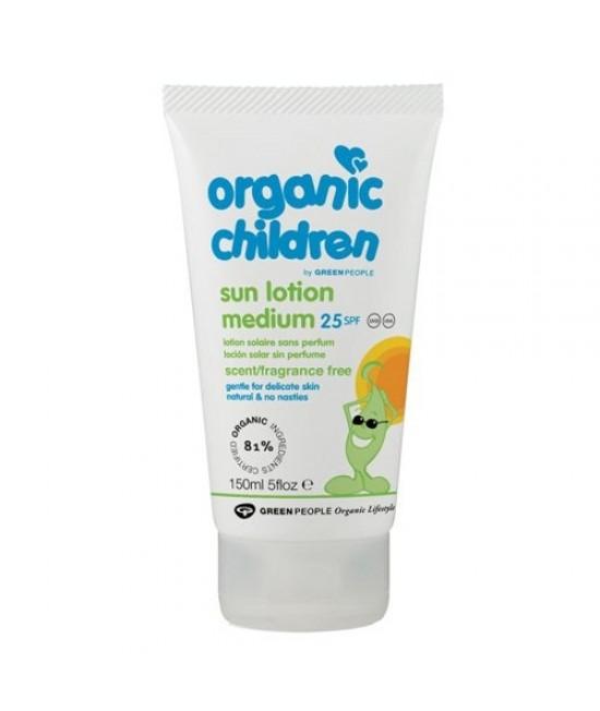 Loțiune de protecție solară pentru copii BIO SPF25 - fără miros - Green People Organic Children