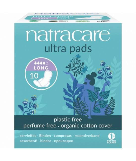 Absorbante naturale Natracare - 4 picături, ultra, cu aripioare, cu bumbac organic - 10 bucăți