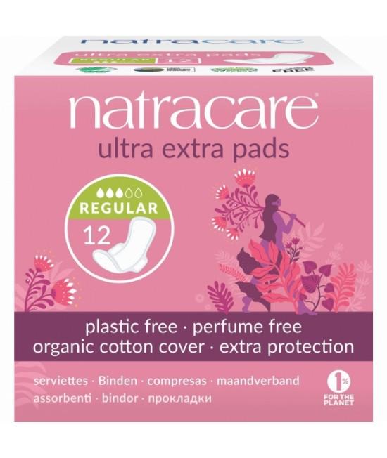 Absorbante naturale pentru noapte Natracare - 3 picături, normale, cu aripioare, cu bumbac organic - 12 bucăți