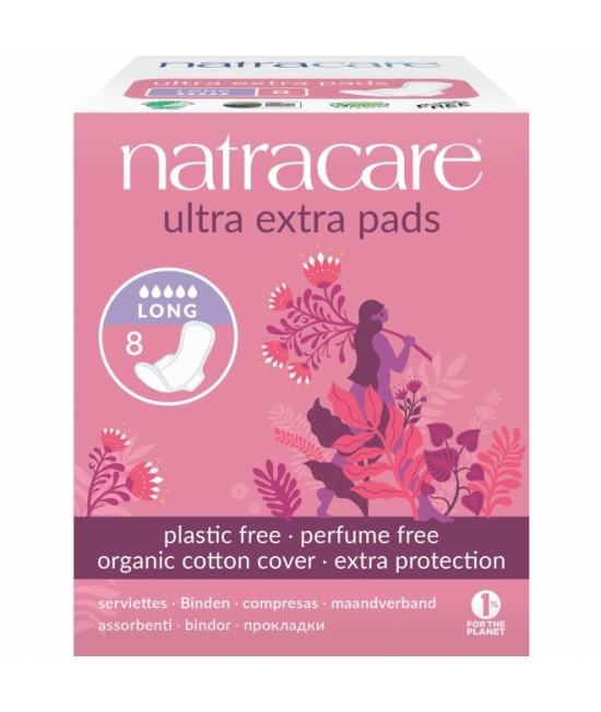 Absorbante naturale pentru noapte Natracare - 5 picături, ultra-extra (lungi), cu aripioare, cu bumbac organic - 8 bucăți