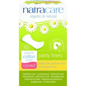 Absorbante zilnice naturale BIO protej-slip curbate (curved) Natracare - panty-liner de zi cu zi - 30 bucăți - cu bumbac organic