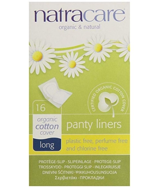 Absorbante zilnice naturale bio protej-slip breathable Natracare LUNGI - panty-liner de zi cu zi - ambalate individual - 16 bucăți