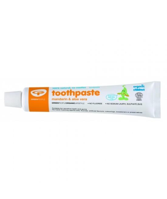 Pastă de dinți Green People naturală fără fluor pentru copii și bebeluși - cu mandarină