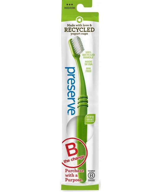 Periuță de dinți ecologică pentru copii mari (peste 8 ani) și adulți - Preserve Medium verde