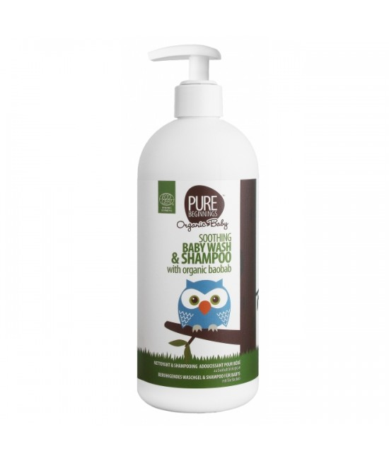 Șampon și gel de duș organic calmant cu baobab - Pure Beginnings - pentru bebeluși