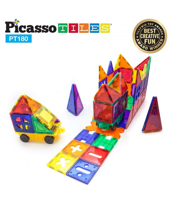 Set PicassoTiles Deluxe Combo - 180 piese magnetice de construcție colorate
