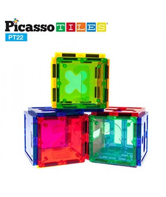 Set PicassoTiles Numerical - 22 piese magnetice de construcție colorate