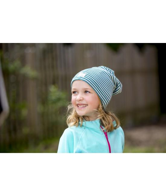 Șapcă tub Pickapooh din lână organică și mătase - multiple moduri de purtare (cagulă, fes, șal, bandană) - dungi alb-albastre