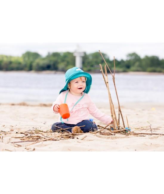 """Pălărie de soare cu boruri mari Pickapooh """"Pompier"""" cu protecție UV UPF80 din bumbac organic pentru copii - turcoaz"""