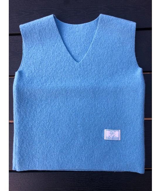 Vestă albastră din lână Merino organică fiartă Pickapooh pentru copii