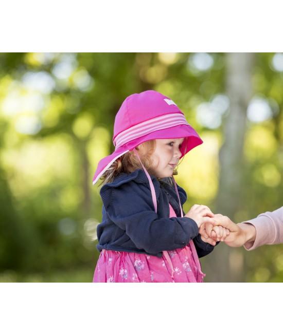 """Pălărie de soare cu boruri mari Pickapooh """"Pompier"""" cu protecție UV UPF80 din bumbac organic pentru copii"""