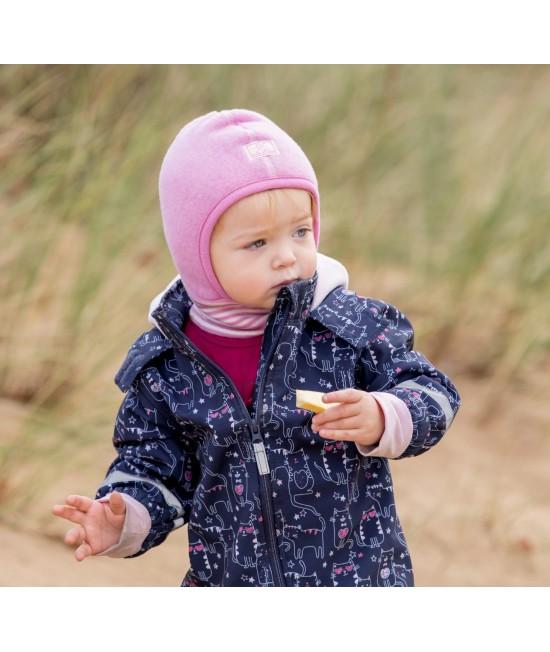 Cagulă din polar de lână Merino organică Pickapooh Schlüpfli roz - cu guler din lână și mătase