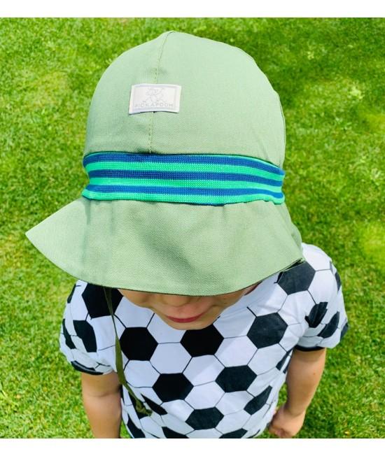 """Pălărie de soare cu boruri mari Pickapooh """"Pompier"""" cu protecție UV UPF80 din bumbac organic pentru copii - verde kiwi"""