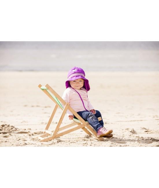 """Pălărie de soare cu boruri mari Pickapooh """"Pompier"""" cu protecție UV UPF80 din bumbac organic mov pentru copii"""