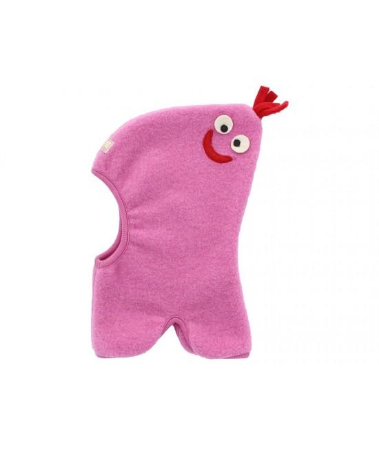 Cagulă simpatică din polar de lână Merino organică Pickapooh Max roz