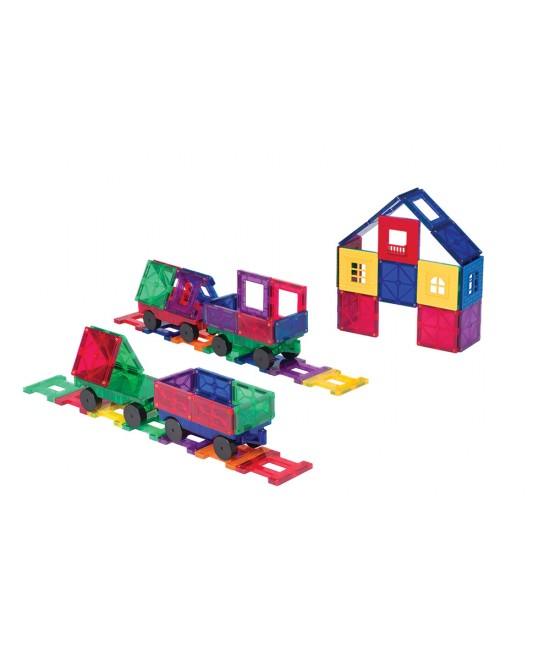 Set Playmags - 50 de accesorii pentru construcții magnetice + 5 ferestre