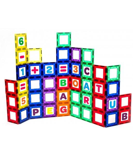 Set Playmags exclusiv educațional - 80 piese magnetice: 40 ferestre + 40 litere și cifre