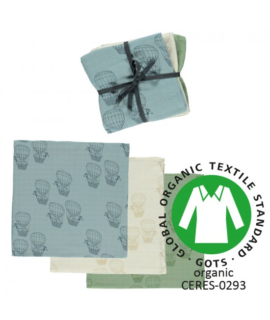 Set 3 prosoape/șervețele/păturici din bumbac organic muselină Smafolk - Hot air ballon blue